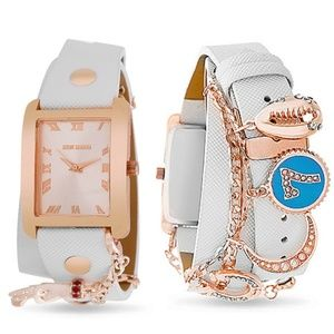 Steve Madden White Leather Watch with Charms